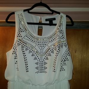 Ashley Stewart's white sleeveless dress